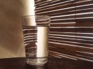 Striped water in glass