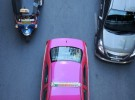 pink taxi and friend