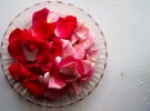 baker's table, rose pedals, plate
